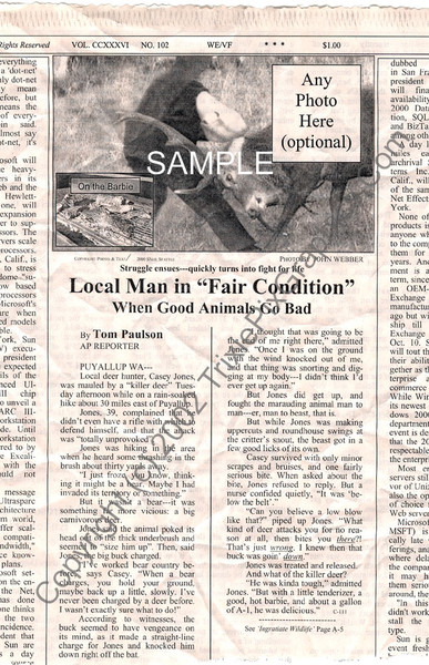 "Fake Joke Newspaper Article LOCAL MAN IN ""FAIR CONDITION"""