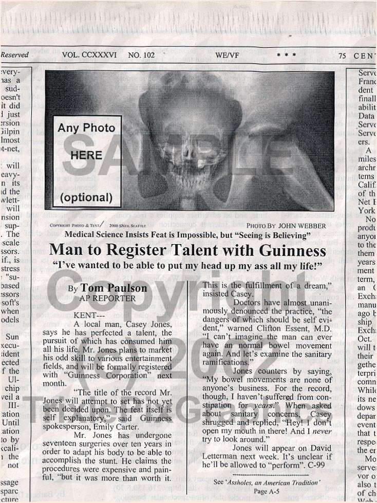 Fake Joke Newspaper Article MAN TO REGISTER TALENT WITH GUINNESS