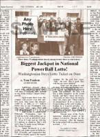Fake Joke Newspaper Article BIGGEST JACKPOT IN NATIONAL POWERBALL LOTTO