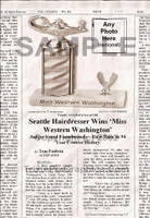 Fake Joke Newspaper Article SEATTLE HAIRDRESSER WINS 'MISS WESTERN WASHINGTON'