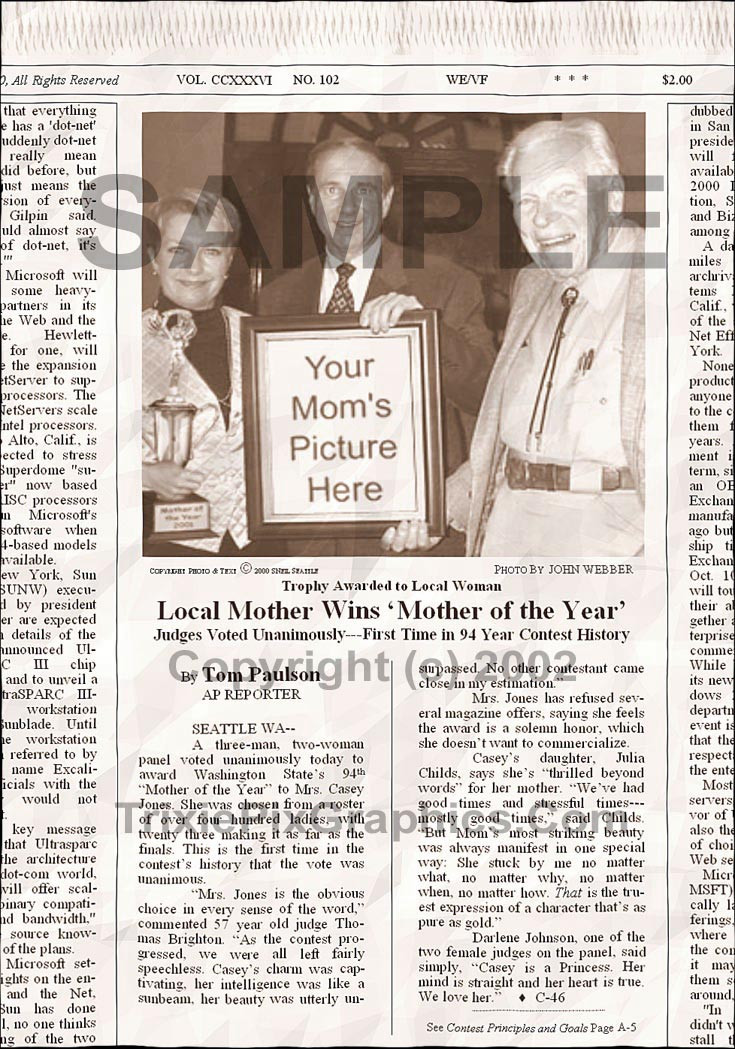 Fake Joke Newspaper Article LOCAL MOTHER WINS 'MOTHER OF THE YEAR'