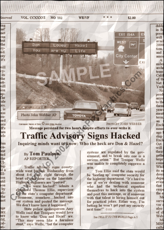 Fake Joke Newspaper Article TRAFFIC ADVISORY SIGNS HACKED