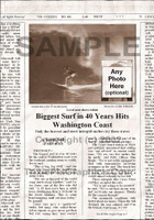 Fake Joke Newspaper Article BIGGEST SURF IN 40 YEARS HITS WASHINGTON COAST