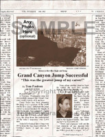 Fake Joke Newspaper Article GRAND CANYON JUMP SUCCESSFUL