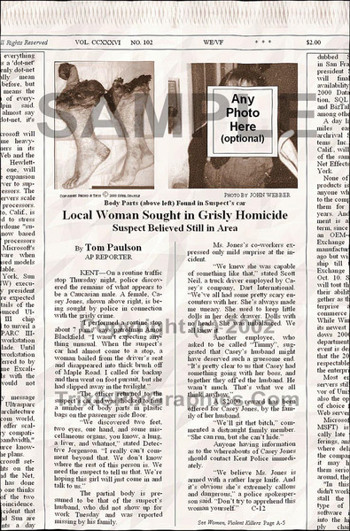 Fake Joke Newspaper Article LOCAL WOMAN SOUGHT IN GRISLY HOMICIDE