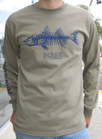 """The Fishbone, Longsleeve;"" Sand with Navy Blue print"