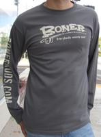 """Longsleeve Boner Logo Tee,"" Charcoal with Off-White print"