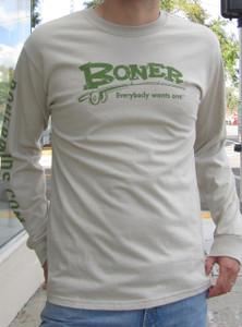 """Longsleeve Boner Logo Tee,"" Sand with Green print"
