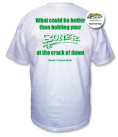 """The Crack of Dawn"" White Tee with Green Print on reverse"