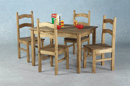 Corona Mexican Budget Dining Set in Distressed Waxed Pine