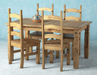 Corona Dining Set 5' in Distressed Waxed Pine