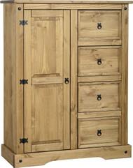 Corona 1 Door 4 Drawer Low Wardrobe in Distressed Waxed Pine