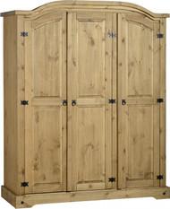 Corona 3 Door Wardrobe in Distressed Waxed Pine