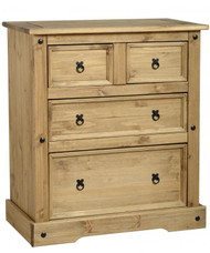 Corona 2+2 Drawer Chest in Distressed Waxed Pine
