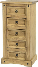 Corona 5 Drawer Narrow Chest in Distressed Waxed Pine