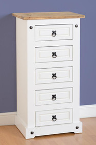 Corona 5 Drawer Narrow Chest in White