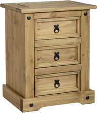 Corona 3 Drawer Bedside Chest in Distressed Waxed Pine