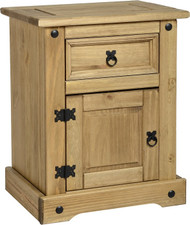 Corona 1 Door 1 Drawer Bedside Chest in Distressed Waxed Pine