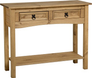 Corona Console Table 2 Drawer with Shelf in Distressed Waxed Pine