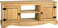 Corona Flat Screen TV Unit 2 Door in Distressed Waxed Pine