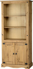 Corona 2 Door Display Unit/Bookcase in Distressed Waxed Pine