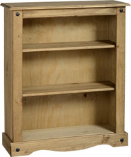 Corona Bookcase Low in Distressed Waxed Pine