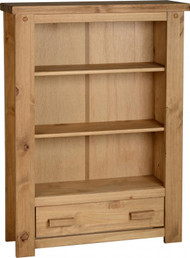 Corona Tortilla 1 Drawer Bookcase in Distressed Waxed Pine
