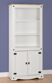 Corona 2 Door Display Unit/Bookcase in White