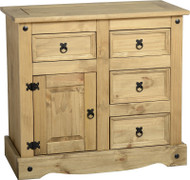 Corona 1 Door 4 Drawer Sideboard in Distressed Waxed Pine
