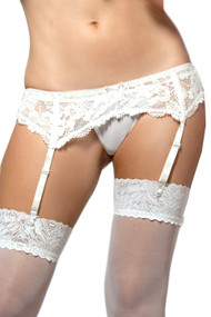 White Lace Bridal Garter Belt and Thong Set