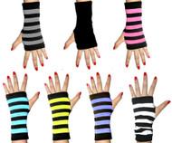 Stripe Fingerless Short Wrist Warmer Gloves