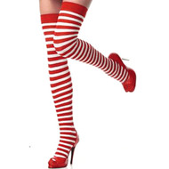 Red White Stripes Holiday Over the Knee High Socks Christmas