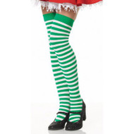Green White Stripes Holiday Elf Over the Knee High Christmas Socks