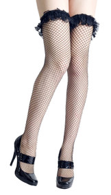 Black Ruffle Lace Top Fishnet thigh high stockings