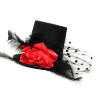 Black Burlesque Mini Top Hat with Rose and Polkadot Mesh