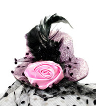 Pink Glitter Rose Burlesque Mini Top Hat w/ Veil