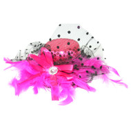 Fuchsia Pink Sequin Burlesque Marabou Mini Top Hat