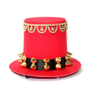 Red Rivet Studded Burlesque Mini Top Hat