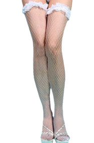 White  Ruffle Lace Top Fishnet thigh high stockings