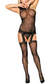 Black Leopard Off Shoulder garter body Stocking Dress