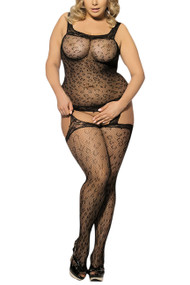 Off Shoulder Leopard garter body Stocking Dress Plus Size