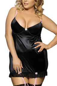 Black Satin Padded Garter Chemise Plus Size XL