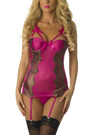 Magenta Embroidered Satin Padded Underwire Garter Chemise