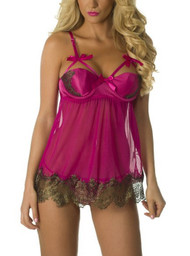 Magenta Embroidered Satin Padded Underwire  Chemise