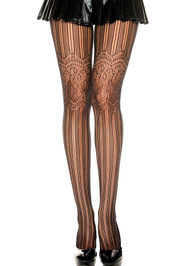 Vertical Burlesque Stripe Floral Patterned Pantyhose
