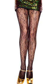Floral Patterned Fishnet Pantyhose Tights
