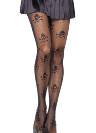 Skull Crossbones Patterned Fishnet Pantyhose Tights
