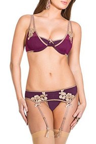 Meg Plum Royale Garter Belt Lingerie Set with Embroidery