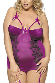 Magenta Embroidered Satin Padded Underwire Garter Chemise PLUS