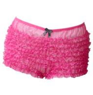 Fuchsia Pink Rumba Retro Ruffle Boyshort Bloomer Panty